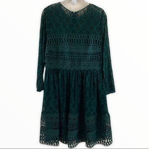 ASOS Emerald Green Lace Fit & Flare Dress Sz 12